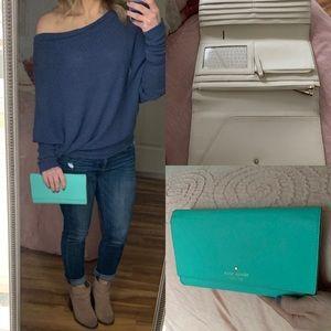 Kate Spade trifold wallet Tiffany blue clutch